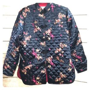 Jackets & Blazers - VTG Quilted Asian Jacket Satin Floral  Blue Medium